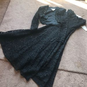 Cache black lace and beaded flare dress